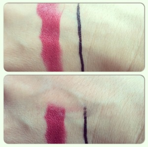 A lip stain and waterproof liner are easily removed.